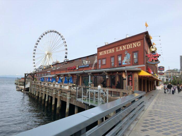 Trottoaren längs med hamnen i Seattle.
