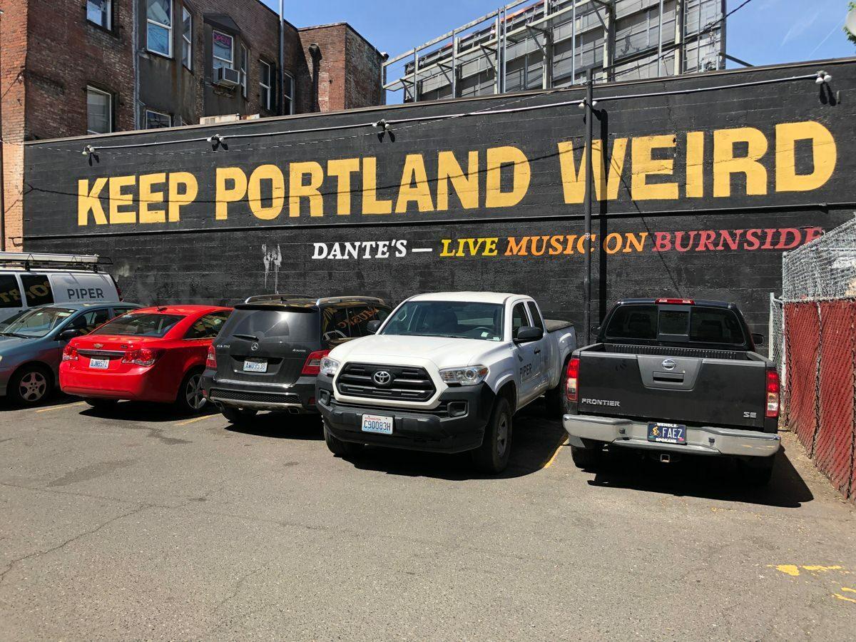 Väg med texten keep Portland weird